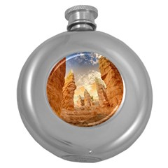 Canyon Desert Landscape Scenic Round Hip Flask (5 Oz) by Celenk
