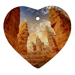 Canyon Desert Landscape Scenic Heart Ornament (two Sides)