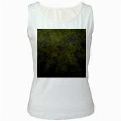 Green Background Texture Grunge Women s White Tank Top