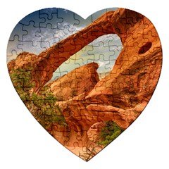 Canyon Desert Rock Scenic Nature Jigsaw Puzzle (heart) by Celenk