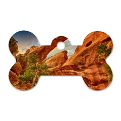 Canyon Desert Rock Scenic Nature Dog Tag Bone (two Sides)