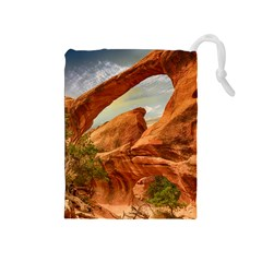 Canyon Desert Rock Scenic Nature Drawstring Pouches (medium)  by Celenk