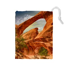 Canyon Desert Rock Scenic Nature Drawstring Pouches (large)  by Celenk