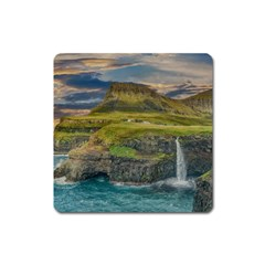 Coastline Waterfall Landscape Square Magnet