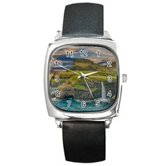 Coastline Waterfall Landscape Square Metal Watch
