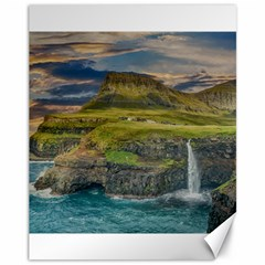 Coastline Waterfall Landscape Canvas 11  X 14   by Celenk