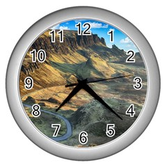 Nature Landscape Mountains Outdoor Wall Clocks (silver)