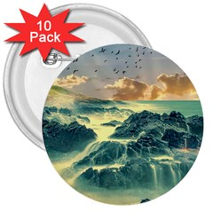 Coastline Sea Nature Sky Landscape 3  Buttons (10 Pack)