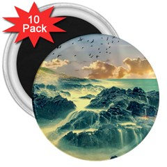 Coastline Sea Nature Sky Landscape 3  Magnets (10 Pack)