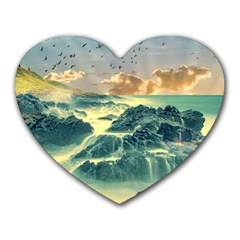 Coastline Sea Nature Sky Landscape Heart Mousepads