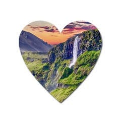 Waterfall Landscape Nature Scenic Heart Magnet