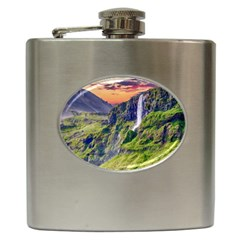 Waterfall Landscape Nature Scenic Hip Flask (6 Oz) by Celenk