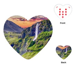 Waterfall Landscape Nature Scenic Playing Cards (heart)  by Celenk