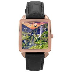 Waterfall Landscape Nature Scenic Rose Gold Leather Watch  by Celenk