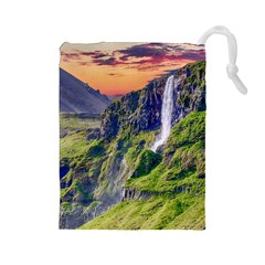 Waterfall Landscape Nature Scenic Drawstring Pouches (large)