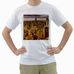 New York Empire State Building Men s T Shirt (white) (two Sided)