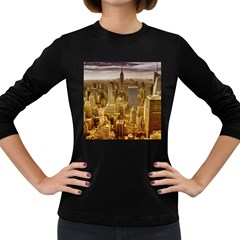 New York Empire State Building Women s Long Sleeve Dark T Shirts