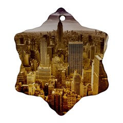 New York Empire State Building Snowflake Ornament (two Sides) by Celenk