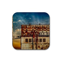 Ruin Abandoned Building Urban Rubber Coaster (square)  by Celenk