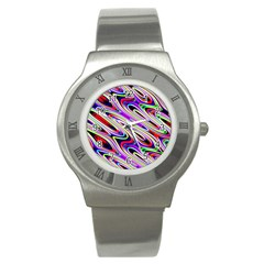 Multi Color Wave Abstract Pattern Stainless Steel Watch by Celenk