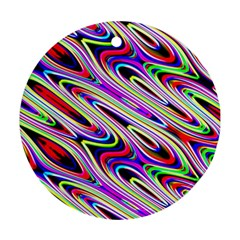 Multi Color Wave Abstract Pattern Round Ornament (two Sides) by Celenk