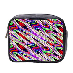 Multi Color Wave Abstract Pattern Mini Toiletries Bag 2 Side by Celenk