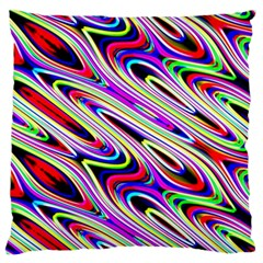 Multi Color Wave Abstract Pattern Large Cushion Case (one Side) by Celenk