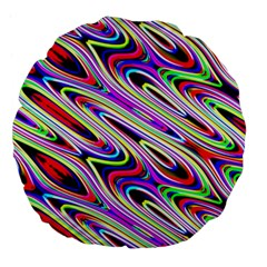 Multi Color Wave Abstract Pattern Large 18  Premium Flano Round Cushions by Celenk