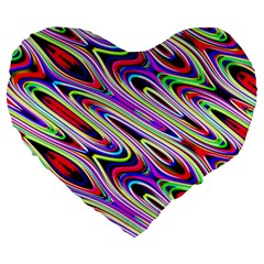 Multi Color Wave Abstract Pattern Large 19  Premium Flano Heart Shape Cushions by Celenk