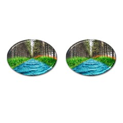 River Forest Landscape Nature Cufflinks (oval) by Celenk