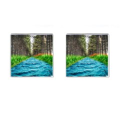 River Forest Landscape Nature Cufflinks (square) by Celenk