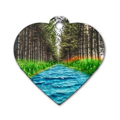 River Forest Landscape Nature Dog Tag Heart (two Sides) by Celenk