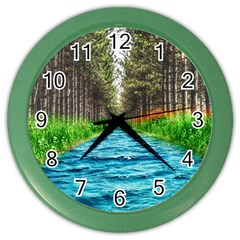 River Forest Landscape Nature Color Wall Clocks