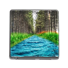 River Forest Landscape Nature Memory Card Reader (square)