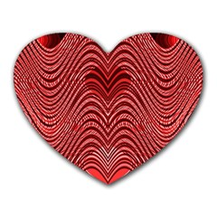 Red Wave Pattern Heart Mousepads by Celenk