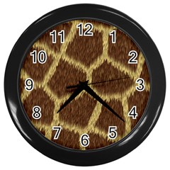 Background Texture Giraffe Wall Clocks (black) by Celenk