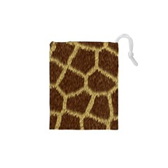 Background Texture Giraffe Drawstring Pouches (xs)  by Celenk