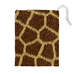 Background Texture Giraffe Drawstring Pouches (extra Large) by Celenk