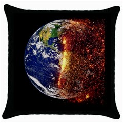 Climate Change Global Warming Throw Pillow Case (black) by Celenk