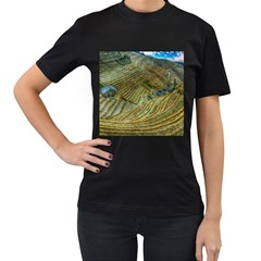 Rice Field China Asia Rice Rural Women s T Shirt (black) (two Sided)