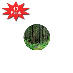 Forest Woods Nature Landscape Tree 1  Mini Buttons (10 Pack)  by Celenk