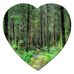 Forest Woods Nature Landscape Tree Jigsaw Puzzle (heart) by Celenk
