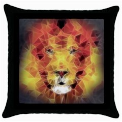 Fractal Lion Throw Pillow Case (black)