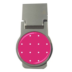 Small Pink Dot Money Clips (round)  by snowwhitegirl