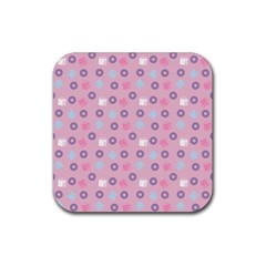 Milk And Donuts Pink Rubber Coaster (square)  by snowwhitegirl