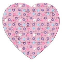 Milk And Donuts Pink Jigsaw Puzzle (heart) by snowwhitegirl