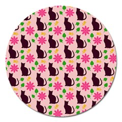 Outside Cats Magnet 5  (round) by snowwhitegirl