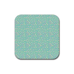 Light Teal Hearts Rubber Square Coaster (4 Pack)  by snowwhitegirl