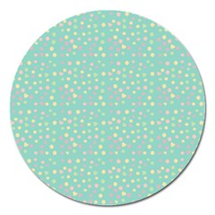 Light Teal Hearts Magnet 5  (round) by snowwhitegirl