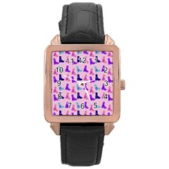 Candy Boots Rose Gold Leather Watch  by snowwhitegirl